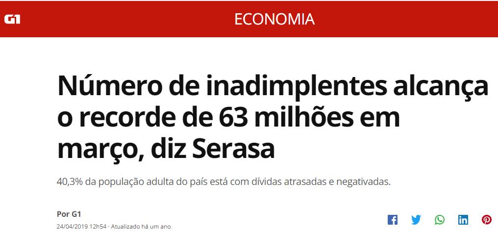 Mais de 60 milhões de brasileiros endiviados